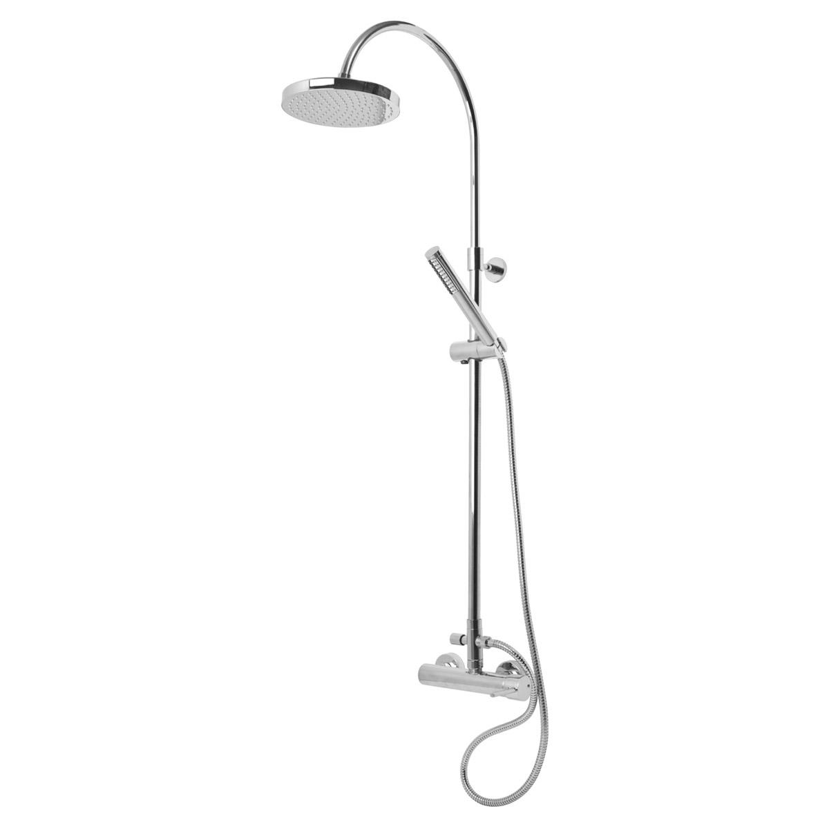 External shower mixer with shower coloumn and shower head ABS ø200 ...