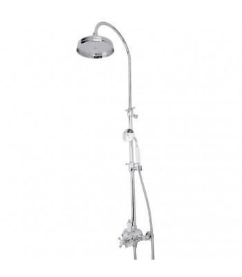 Miscelatore termostatico esterno deviatore 1 via integrato completo di colonna, soffione ø 200 e doccia