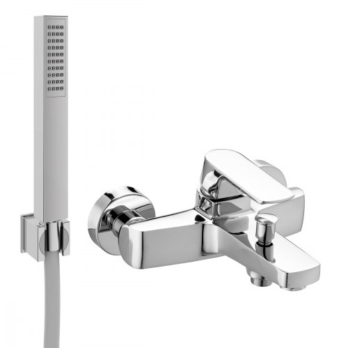 Single-lever external bath mixer with shower kit