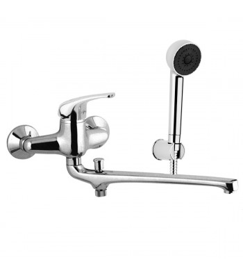 Wall basin/bath single lever mixer with 30 cm long casted spout with diverter with duplex shower
