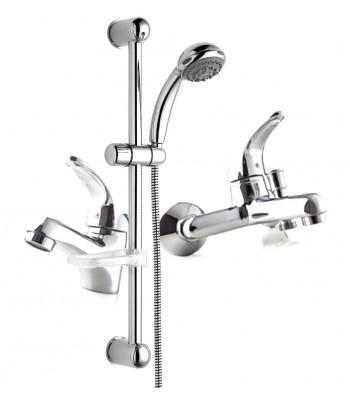 Kit composto da un miscelatore lavabo s/scarico, 1 miscelatore vasca s/kit, 1 saliscendi ø 25 art. SALD25620000