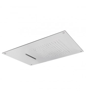 Concealed Stainless Steel shower head 600x400 with 2 functions: rain and waterfall.