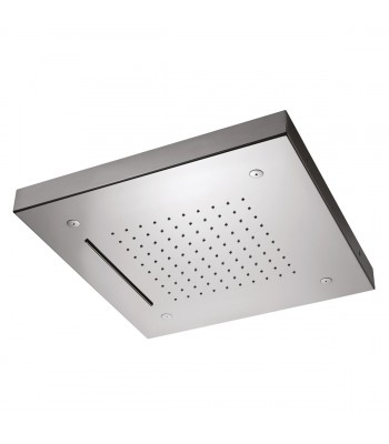 Ceiling Stainless Steel shower head 500X500 with 3 functions: rain, waterfall and nebulizers.