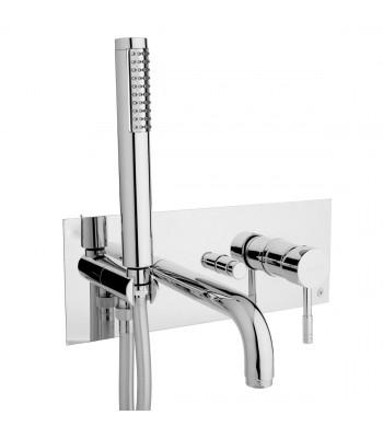 Miscelatore monocomando vasca da incasso con doccia e flessibile cm 150