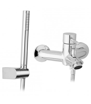 Single-lever external bath mixer with flexible cm 150 and shower support