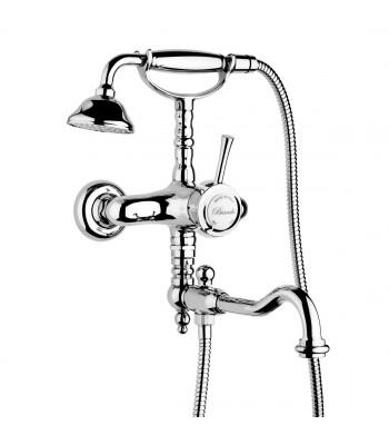 Gruppo vasca esterno con doccia e deviatore, flessibile e bocca in stile girevole