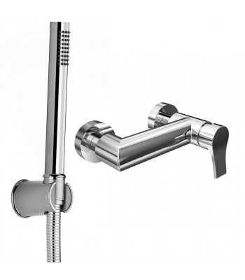 Single lever external shower mixer with shower kit