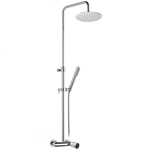Miscelatore monocomando esterno doccia, completo di colonna doccia , soffione inox Ø200 e kit doccia