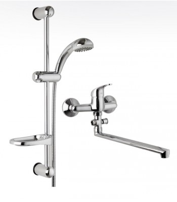 Kit composed by 1 wall sink mixer with diverter and straight spout cm 30 and 1 sliding rail ø 18 item SALD18609000