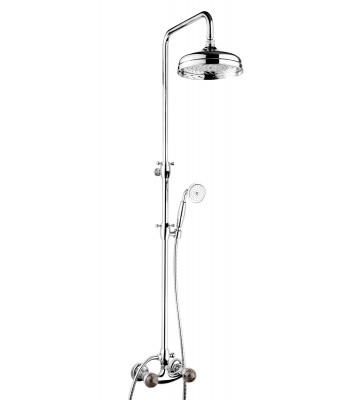 Gruppo doccia esterno con colonna e soffione Ø 200