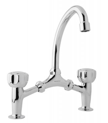 Wash basin mixer bridge type with movable spout and without pop-up waste