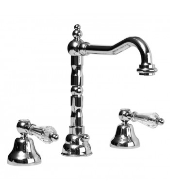 """3 holes wash basin mixer with automatic pop-up waste 1"""" 1/4"""" swivel spout"""