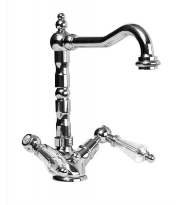 """Single hole wash basin mixer with swivel spout, automatic pop-up waste 1"""" 1/4"""""""
