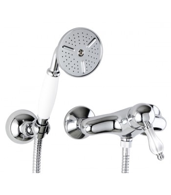 Single-lever external shower mixer with shower kit