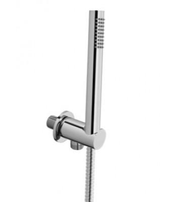 Kit con presa acqua in ottone tondo fissa, doccia Style brass e flessibile cm 150