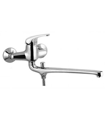Wall basin/bath single lever mixer with 30 cm long casted spout with diverter without duplex shower