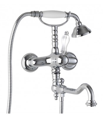 External bath mixer with shower kit and movable spout in style