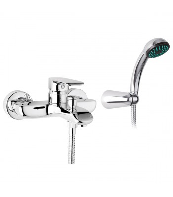 Miscelatore monocomando vasca esterno con doccia flessibile cm 150 e supporto