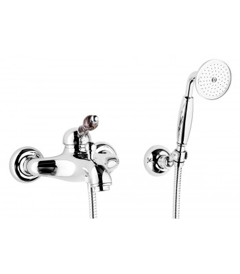 Single-lever external bath mixer with shower kit